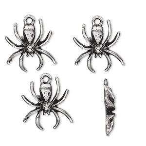 charm, antiqued pewter (tin-based alloy), 16x15mm spider. sold per pkg of 4.