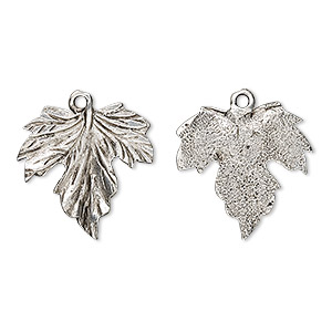 charm, antiqued pewter (tin-based alloy), 20mm grape leaf. sold per pkg of 2.
