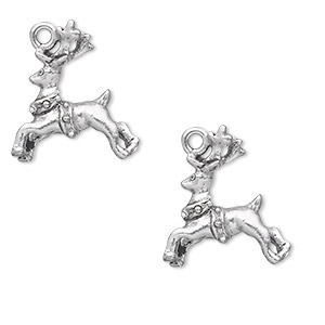 charm, antiqued pewter (tin-based alloy), 20x17mm double-sided reindeer with collar. sold per pkg of 2.