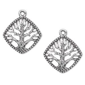charm, antiqued pewter (tin-based alloy), 20x20mm single-sided diamond with tree of life. sold per pkg of 2.