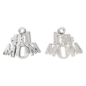 charm, antiqued pewter (tin-based alloy), 21x15mm #1 mom. sold per pkg of 4.