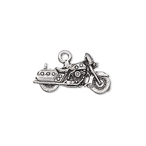 charm, antiqued pewter (tin-based alloy), 23x12mm motorcycle charm, fully dressed. sold per pkg of 2.