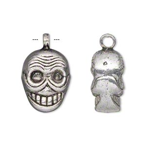 charm, antiqued silver-finished pewter (zinc-based alloy), 19x15mm double-sided skull. sold per pkg of 4.