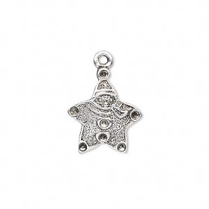 charm, antiqued silver-plated pewter (zinc-based alloy), 18x15.5mm single-sided star with (7) pp12 settings. sold per pkg of 6.