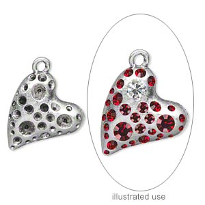 charm, antiqued silver-plated pewter (zinc-based alloy), 24x21mm single-sided heart with (16) pp10, (14) pp21 and (3) pp32settings. sold per pkg of 10.