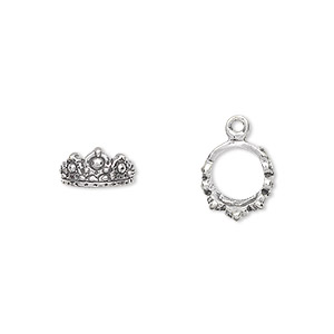 charm, antiqued sterling silver, 10mm 3d crown. sold per pkg of 2.