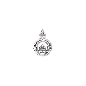 charm, antiqued sterling silver, 10mm single-sided small claddagh. sold per pkg of 2.