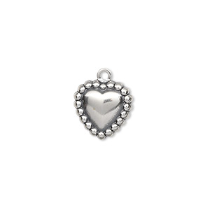 charm, antiqued sterling silver, 12x12mm heart with beaded border. sold per pkg of 2.