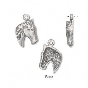 charm, antiqued sterling silver, 14x11mm single-sided horse head. sold individually.