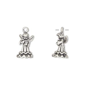 charm, antiqued sterling silver, 14x8mm angel with violin. sold individually.