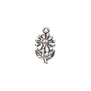 charm, antiqued sterling silver, 15x10mm single-sided flower. sold individually.