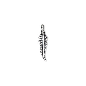 charm, antiqued sterling silver, 15x4mm feather. sold individually.