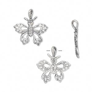 charm, antiqued sterling silver, 16x14mm single-sided open butterfly. sold individually.