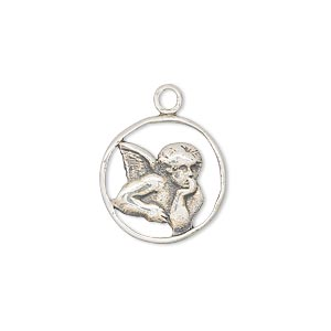 charm, antiqued sterling silver, 17mm angel in thought. sold individually.