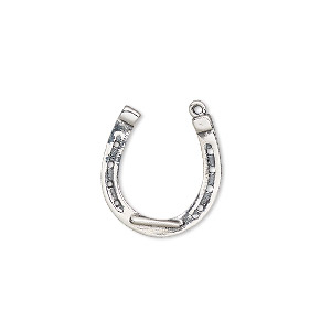 charm, antiqued sterling silver, 18x17mm two-sided horseshoe. sold individually.
