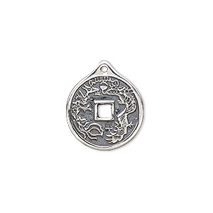 charm, antiqued sterling silver, 19x16mm double-sided chinese coin. sold individually.