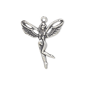 charm, antiqued sterling silver, 22x20mm single-sided fairy. sold individually.