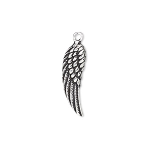 charm, antiqued sterling silver, 22x7mm single-sided wing. sold individually.