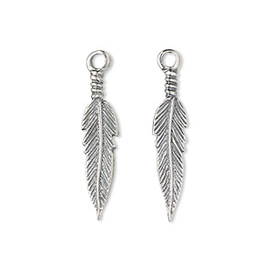 charm, antiqued sterling silver, 25x6mm double-sided feather. sold per pkg of 2.