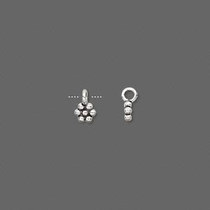 charm, antiqued sterling silver, 4x4mm flower. sold per pkg of 30.