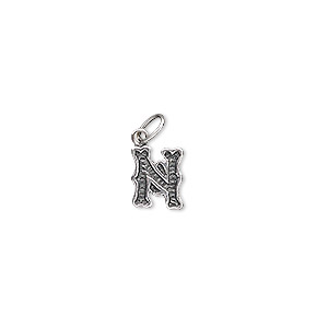 charm, antiqued sterling silver, 9x7mm fancy block alphabet letter n. sold individually.