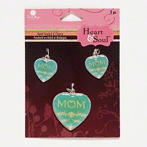 charm, blue moon beads, silver-finished pewter (zinc-based alloy) / resin / steel, clear / blue / green, (2) 18x18mm and (1) 29x28mm heart with mom and floral design. sold per pkg of 3 charms.
