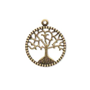 charm, brass, 20mm single-sided flat round with cutout tree of life. sold per pkg of 6.
