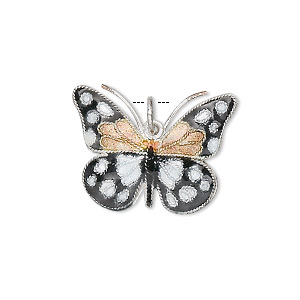 charm, cloisonne, silver-plated copper and enamel, black / gold / white, 24x18mm butterfly. sold individually.