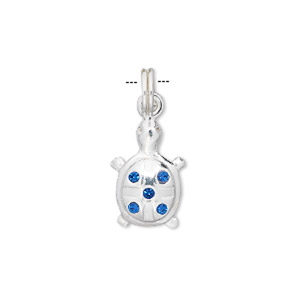charm, crystal and sterling silver, blue, 20x12mm turtle. sold individually.