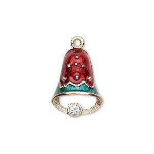 charm, enamel / swarovski crystal rhinestone / gold-finished pewter (zinc-based alloy), red / green / crystal clear, 20x15mm left- and right-facing single-sided bell. sold per pkg of 2.