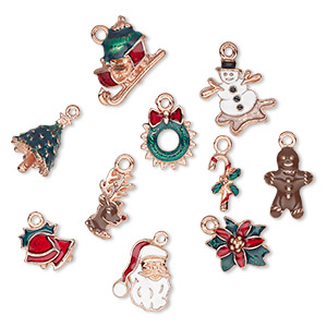 charm, enamel and copper-plated pewter (tin-based alloy), multicolored, 18x8mm-20x16mm christmas theme. sold per 10-piece set.
