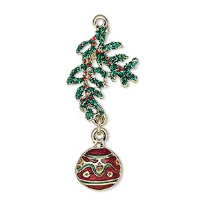 charm, enamel and gold-finished pewter (zinc-based alloy), green and red with green-colored glitter, 35x15mm single-sided ornament and leaves. sold individually.