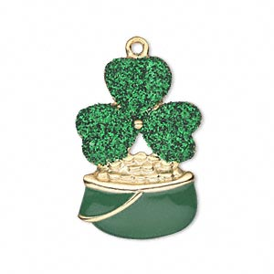 charm, enamel and gold-finished pewter (zinc-based alloy), green with glitter, 29x20mm single-sided 3-leaf clover. sold individually.