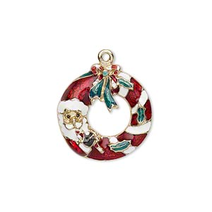 charm, enamel and gold-finished pewter (zinc-based alloy), multicolored, 21x20mm left- and right-facing single-sided santa claus wreath. sold per pkg of 2.