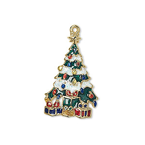 charm, enamel and gold-finished pewter (zinc-based alloy), multicolored with glitter, 26x16.5mm single-sided christmas tree. sold individually.