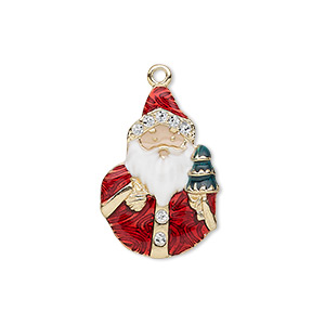charm, enamel and gold-finished pewter (zinc-based alloy), multicolored with glitter, 24x16mm single-sided santa claus with christmas tree. sold individually.