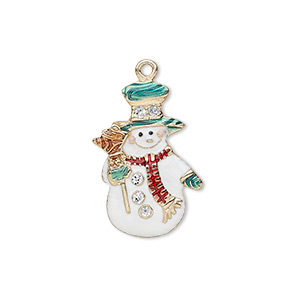 charm, enamel and gold-finished pewter (zinc-based alloy), multicolored with glitter, 23x15mm single-sided snowman with hat / broom / scarf. sold individually.
