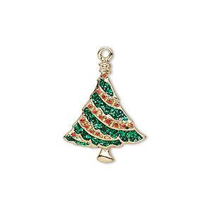 charm, enamel and gold-finished pewter (zinc-based alloy), red and green with glitter, 21x17mm single-sided christmas tree. sold individually.
