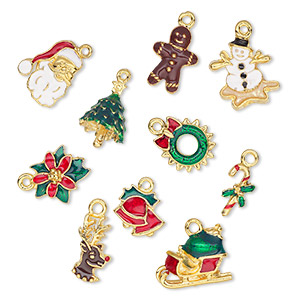 charm, enamel and gold-plated pewter (tin-based alloy), multicolored, 18x8mm-20x16mm christmas theme. sold per 10-piece set.