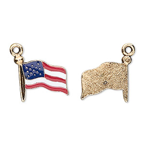 charm, enamel and gold-plated pewter (tin-based alloy), red / white / blue, 16x14mm usa flag. sold per pkg of 2.