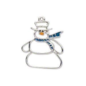 charm, enamel and imitation rhodium-plated pewter (zinc-based alloy), blue / orange / black, 25x21mm left- and right-facing single-sided cutout snowman. sold per pkg of 2.