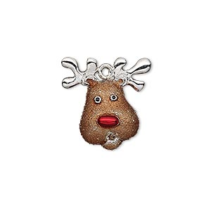 charm, enamel and imitation rhodium-plated pewter (zinc-based alloy), brown / red / black, 20x19mm single-sided reindeer head. sold individually.