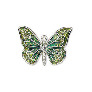 charm, enamel and imitation rhodium-plated pewter (zinc-based alloy), green and light green with glitter, 26x19mm single-sided butterfly. sold individually.
