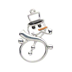 charm, enamel and imitation rhodium-plated pewter (zinc-based alloy), orange and black, 32x21.5mm left- and right-facing single-sided cutout snowman. sold per pkg of 2.