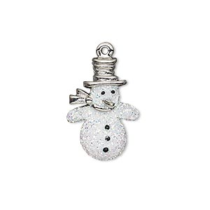 charm, enamel and imitation rhodium-plated pewter (zinc-based alloy), white and black with glitter, 22x15mm single-sided snowman. sold individually.
