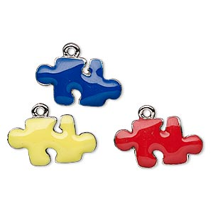 charm, enamel and nickel-plated pewter (tin-based alloy), blue / yellow / red, 20x11mm single-sided puzzle piece. sold per 3-piece set.