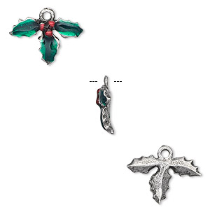 charm, enamel and pewter (tin-based alloy), green and red, 16x12mm holly leaf. sold per pkg of 2.