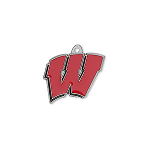 charm, enamel and pewter (zinc-based alloy), black and red, 18x16mm single-sided wisconsin badgers. sold individually.