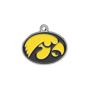 charm, enamel and pewter (zinc-based alloy), black and yellow, 23x16mm single-sided right-facing iowa hawkeyes. sold individually.