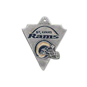 charm, enamel and pewter (zinc-based alloy), blue and gold, 28x22mm single-sided nfl st. louis rams. sold individually.